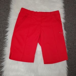 Ladies Red Puma Golf Shorts